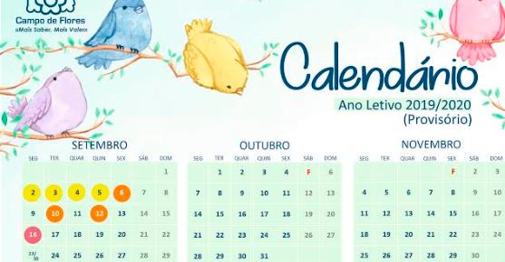Calendário 2019/2020 – Provisório